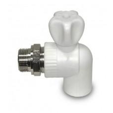 Кран шаровый д/радиаторов ф20*1/2 углов бел. PP-R (шт.)