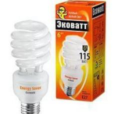 Лампа энергосберег. ECOWATT mini SP 23W 827 E27 теплый бел.свет, витая мини, компакт люм. 50*113мм (шт.)