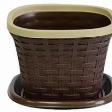 Кашпо Ротанг квадратное 2,6л. коричневое (шт.)